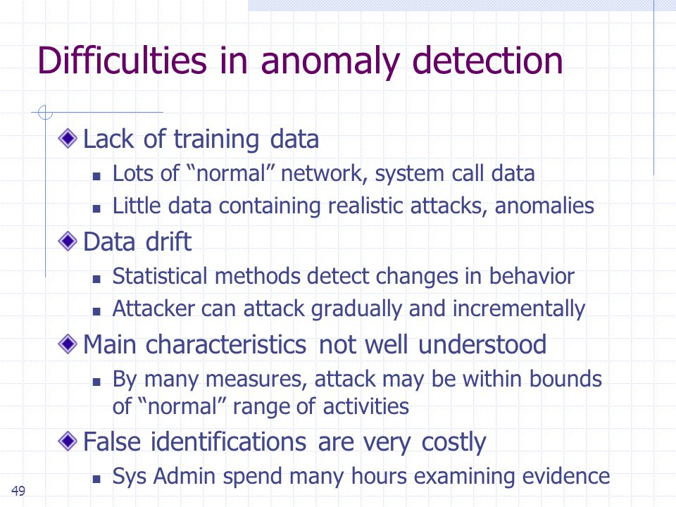 49 Difficulties in anomaly detection Lack of training data Lots of normal network, system call data Little data containing realistic attacks, anomalies Data drift Statistical methods detect changes in behavior Attacker can attack gradually and incrementally Main characteristics not well understood By many measures, attack may be within bounds of normal range of activities False identifications are very costly Sys Admin spend many hours examining evidence