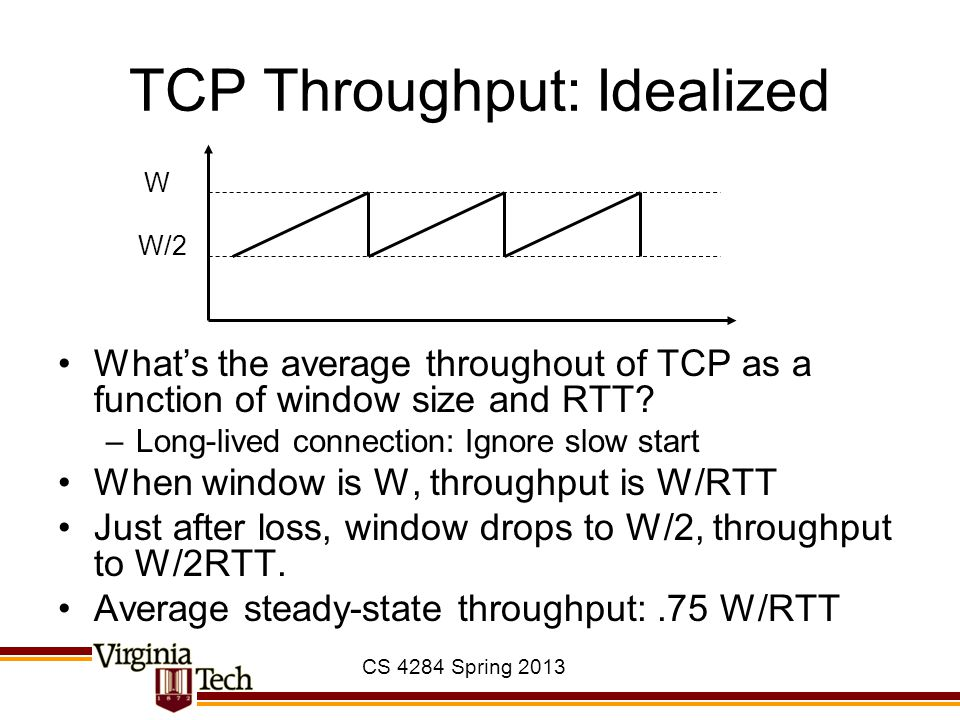 CS 4284 Spring 2013 TCP Throughput: Idealized What's the average throughout of TCP as a function of window size and RTT? –Long-lived connection: Ignor