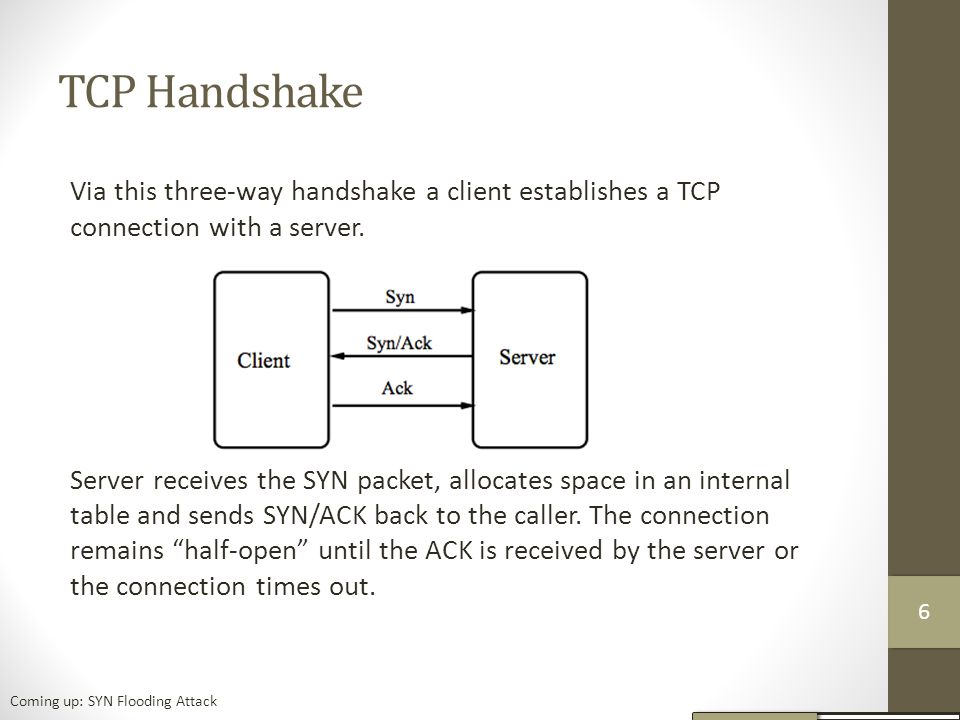 TCP Handshake Via this three-way handshake a client establishes a TCP connection with a server.