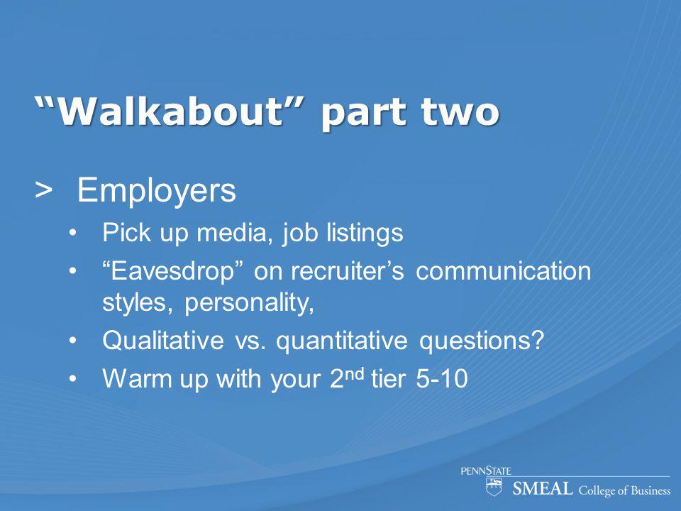 """Walkabout"" part two  Employers Pick up media, job listings ""Eavesdrop"" on recruiter's communication styles, personality, Qualitative vs. quantitativ"