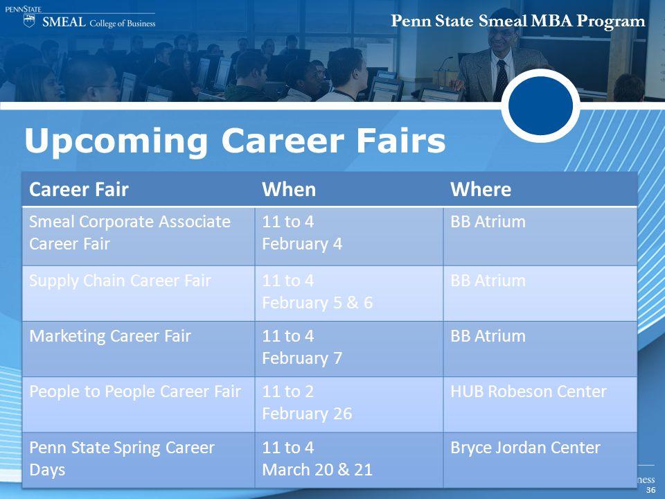 Penn State Smeal MBA Program 36 Upcoming Career Fairs