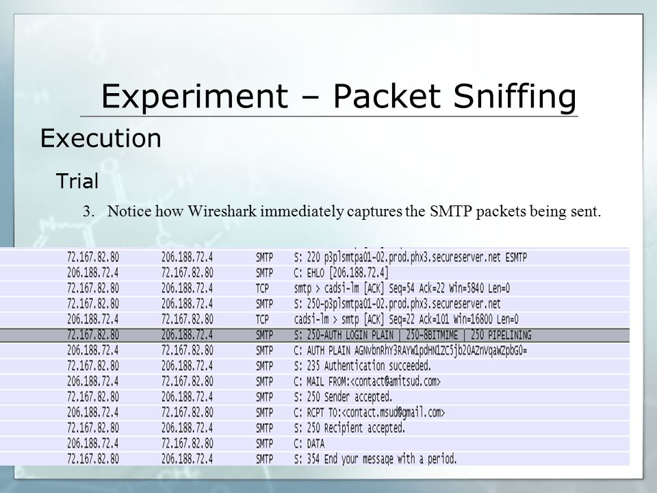 Experiment – Packet Sniffing 3.