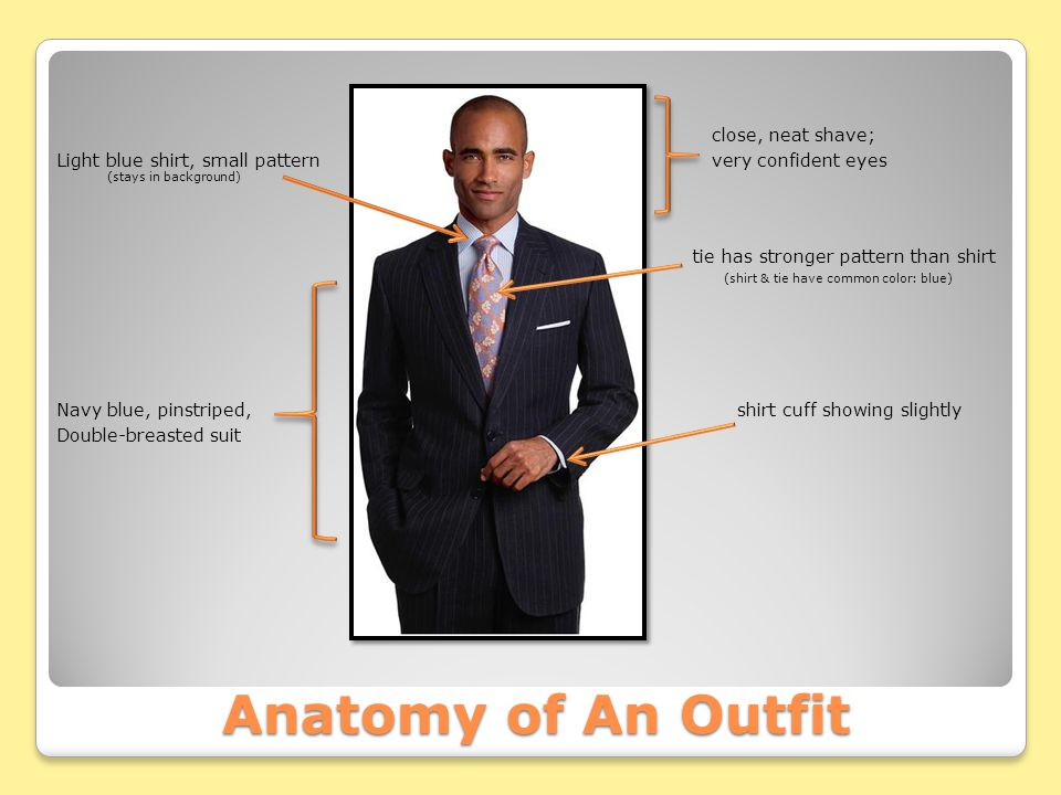 Anatomy of An Outfit close, neat shave; Light blue shirt, small pattern very confident eyes (stays in background) tie has stronger pattern than shirt