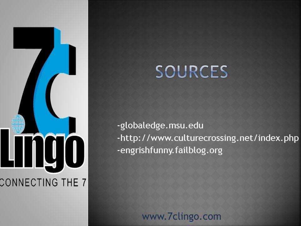 -globaledge.msu.edu -http://www.culturecrossing.net/index.php -engrishfunny.failblog.org www.7clingo.com