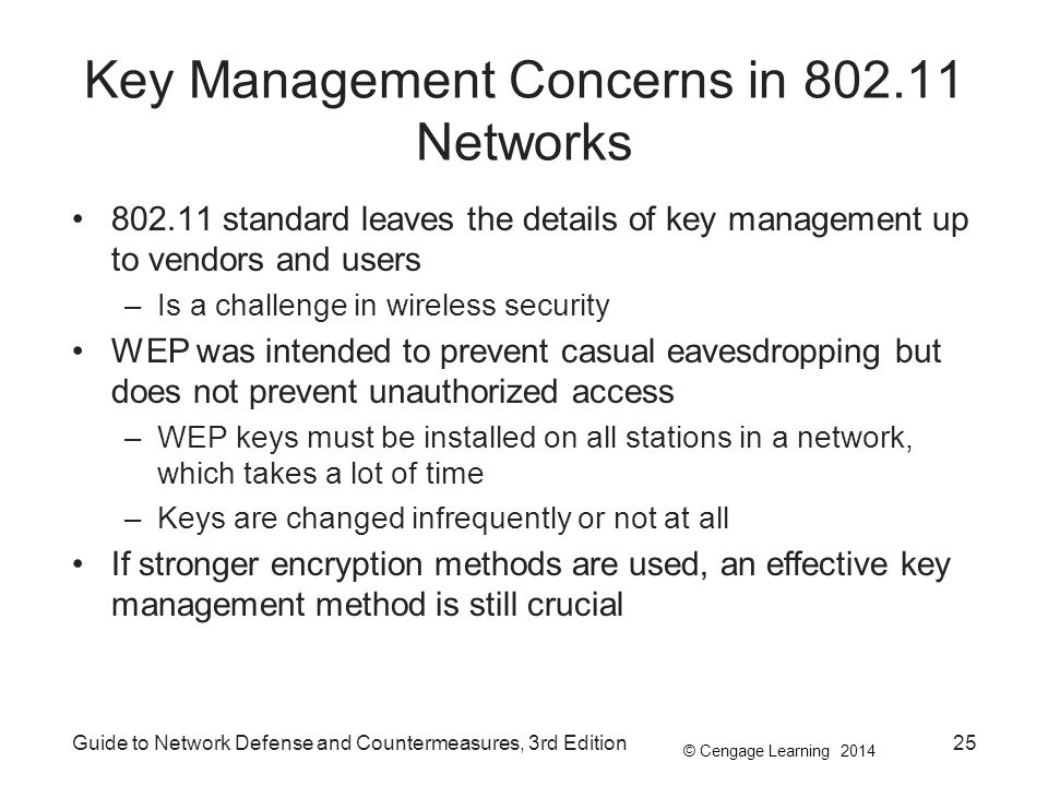 © Cengage Learning 2014 Key Management Concerns in 802.11 Networks 802.11 standard leaves the details of key management up to vendors and users –Is a