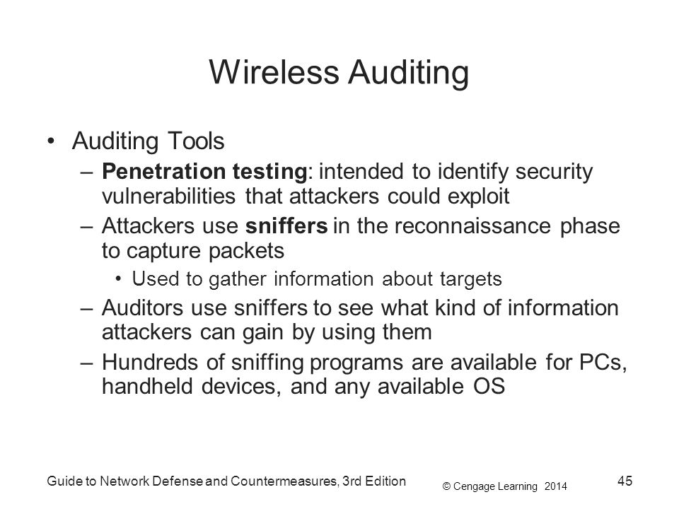© Cengage Learning 2014 Guide to Network Defense and Countermeasures, 3rd Edition45 Wireless Auditing Auditing Tools –Penetration testing: intended to