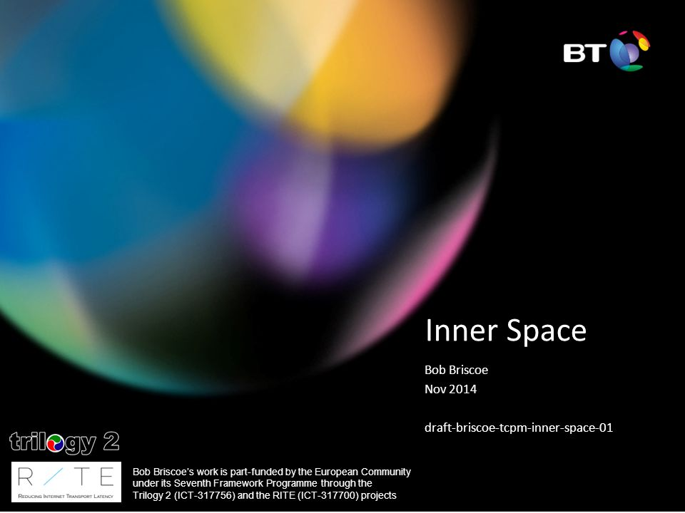 Inner Space Bob Briscoe Nov 2014 draft-briscoe-tcpm-inner-space-01 Bob Briscoe's work is part-funded by the European Community under its Seventh Framework Programme through the Trilogy 2 (ICT-317756) and the RITE (ICT-317700) projects