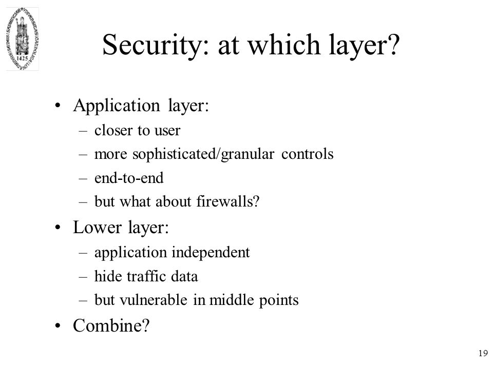 19 Security: at which layer.
