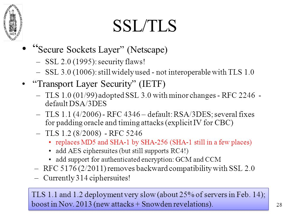28 SSL/TLS Secure Sockets Layer (Netscape) –SSL 2.0 (1995): security flaws.