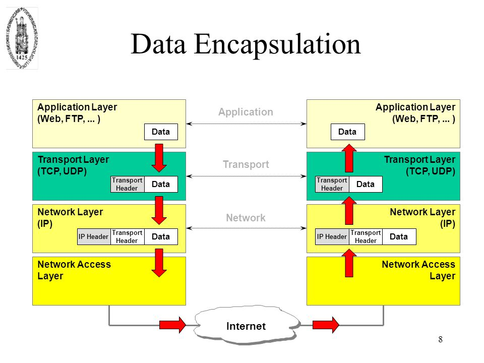 8 Data Encapsulation Network Layer (IP) Network Access Layer Application Layer (Web, FTP,...