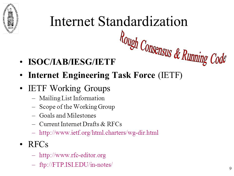 IETF Standards: RFC –Proposed Standard (PS) stable spec lowest level of standards track –Draft Standard (DS) at least two independent and interoperable implementations –Standard (STD) widely, successfully used StandardProposedDraft std Historic Experimental 10