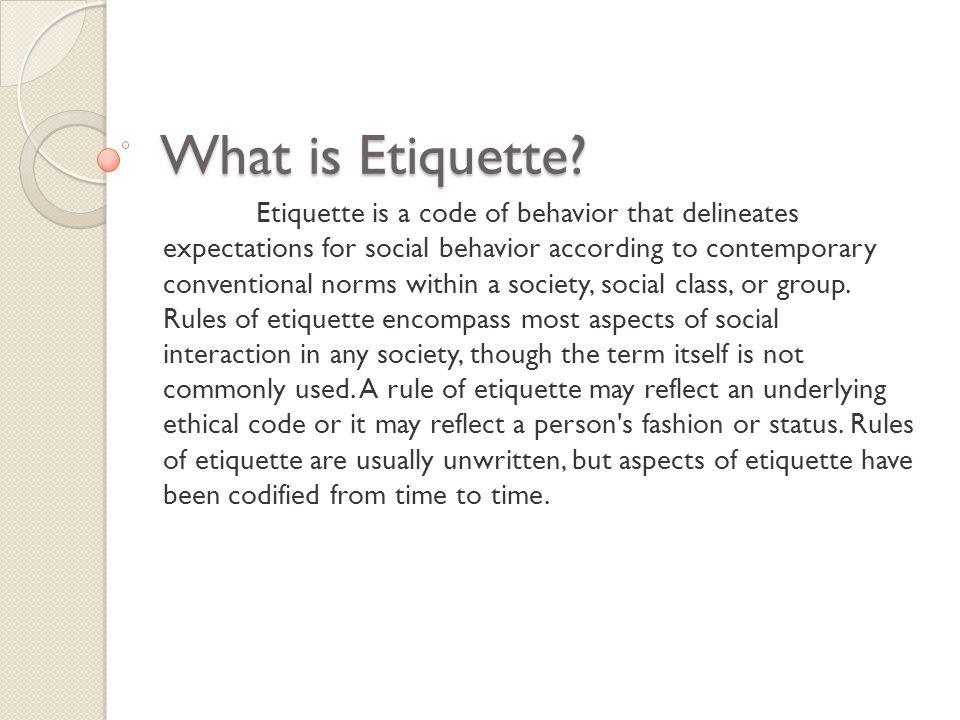 History Of Etiquette
