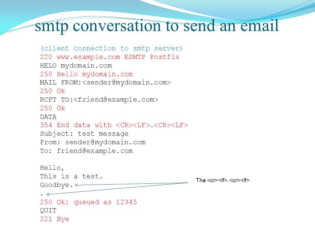 smtp conversation to send an email (client connection to smtp server) 220 www.example.com ESMTP Postfix HELO mydomain.com 250 Hello mydomain.com MAIL