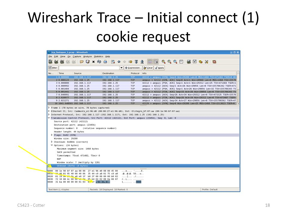 Wireshark Trace – Initial connect (1) cookie request CS423 - Cotter18