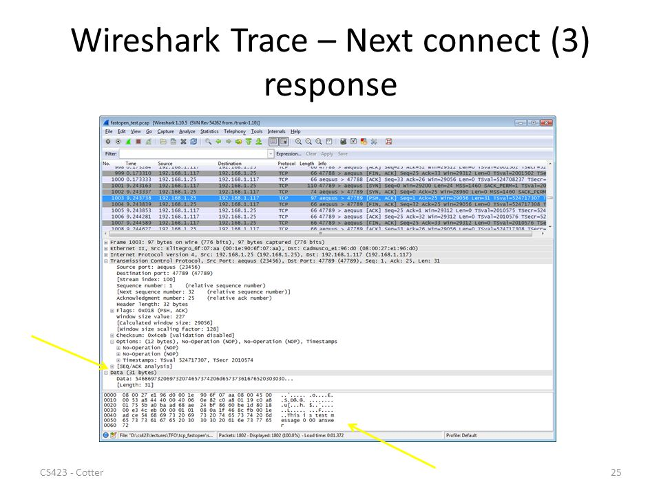 Wireshark Trace – Next connect (3) response CS423 - Cotter25