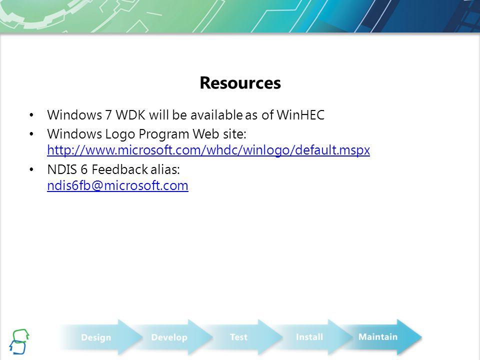 Resources Windows 7 WDK will be available as of WinHEC Windows Logo Program Web site: http://www.microsoft.com/whdc/winlogo/default.mspx http://www.mi