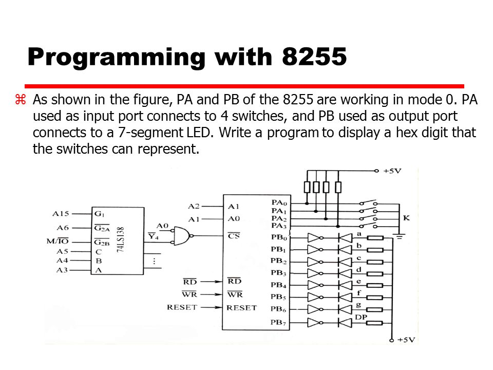 Programming with 8255 zAs shown in the figure, PA and PB of the 8255 are working in mode 0.