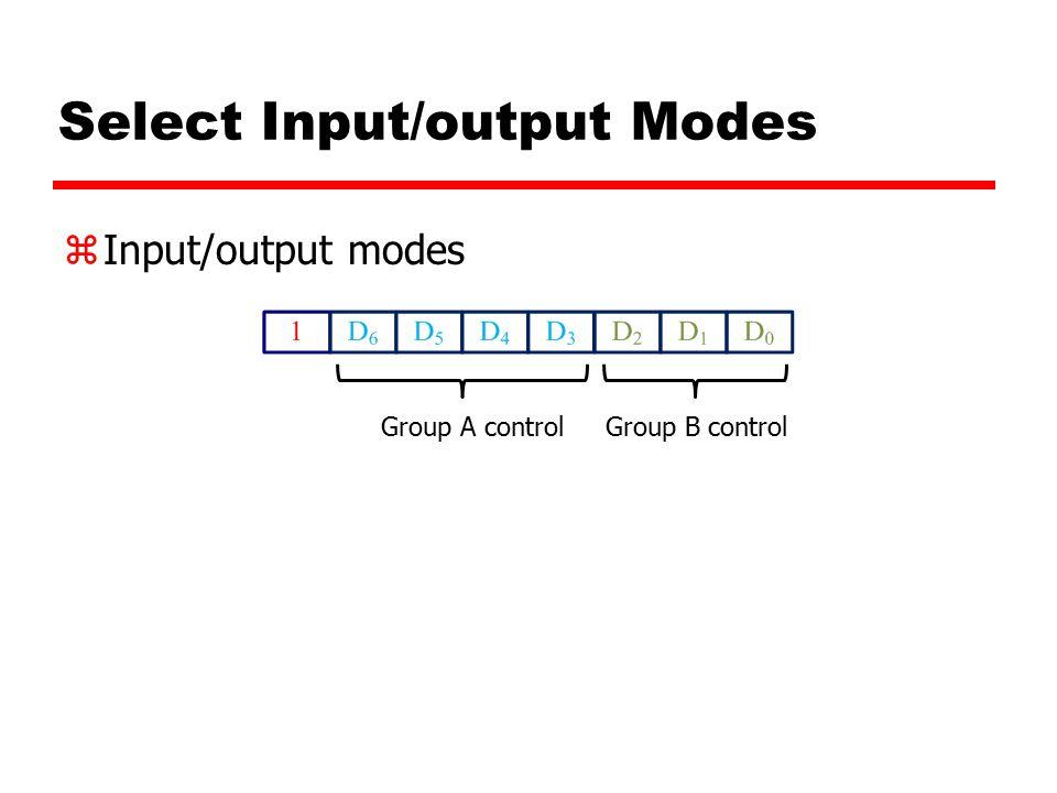 Select Input/output Modes zInput/output modes Group A controlGroup B control