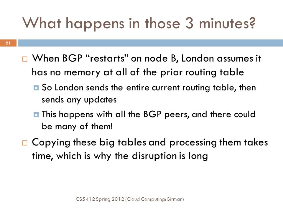 """What happens in those 3 minutes? CS5412 Spring 2012 (Cloud Computing: Birman) 21  When BGP """"restarts"""" on node B, London assumes it has no memory at a"""