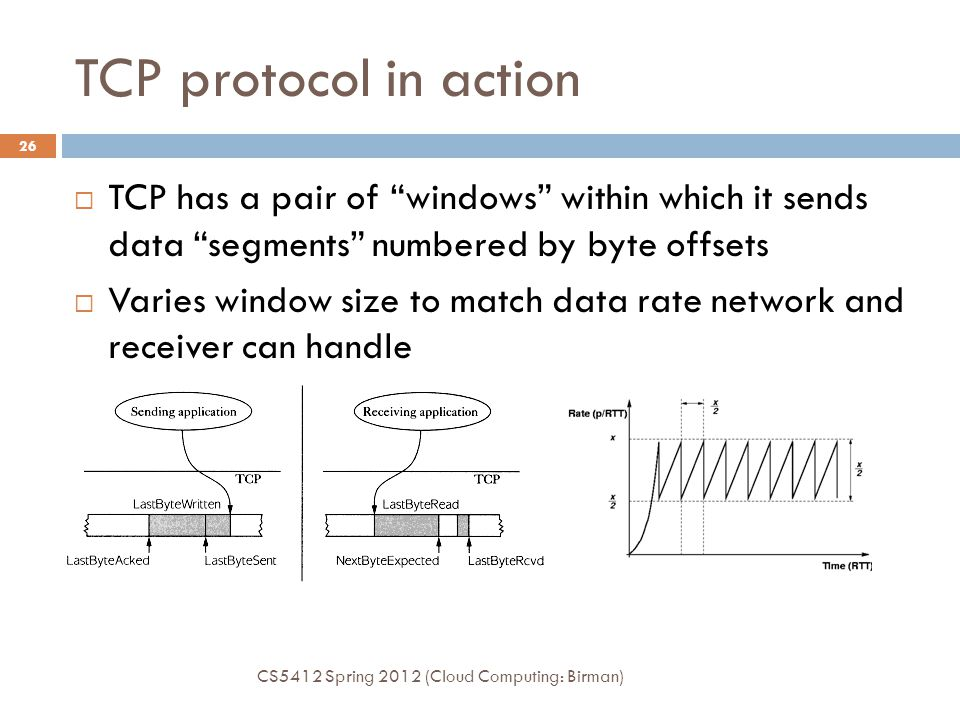 """TCP protocol in action CS5412 Spring 2012 (Cloud Computing: Birman) 26  TCP has a pair of """"windows"""" within which it sends data """"segments"""" numbered by"""