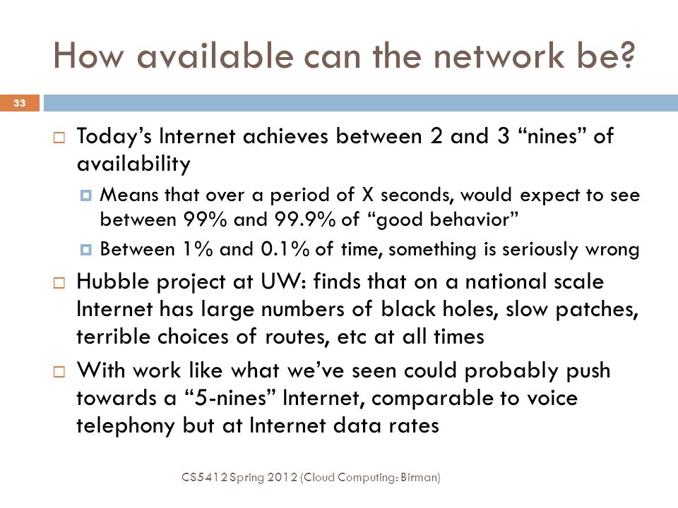 How available can the network be.