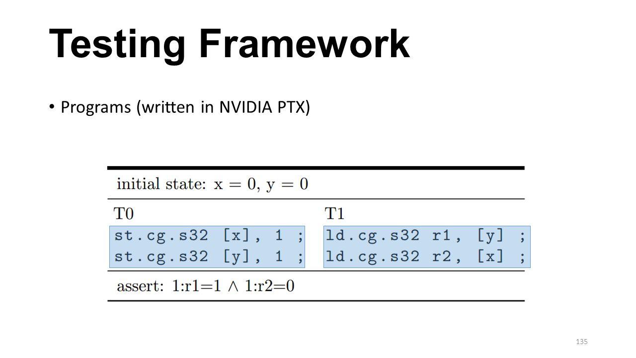 Testing Framework Programs (written in NVIDIA PTX) 135