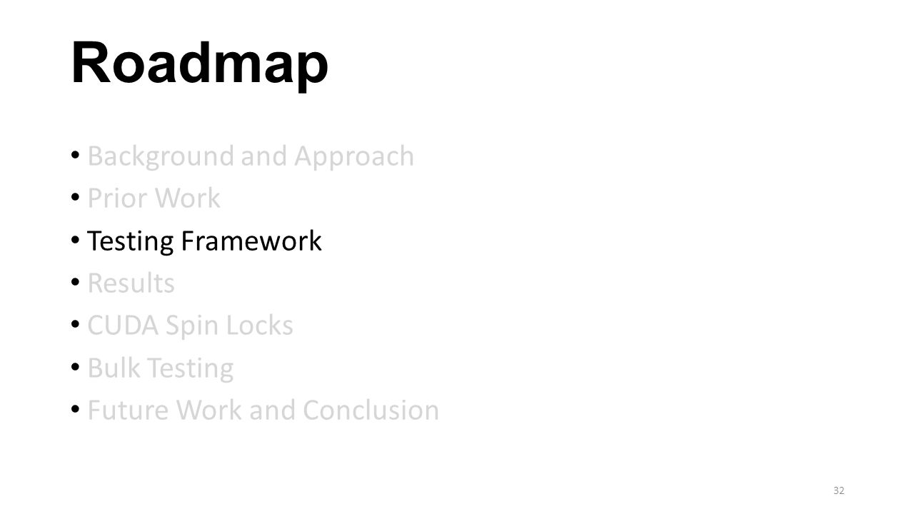 Roadmap Background and Approach Prior Work Testing Framework Results CUDA Spin Locks Bulk Testing Future Work and Conclusion 32