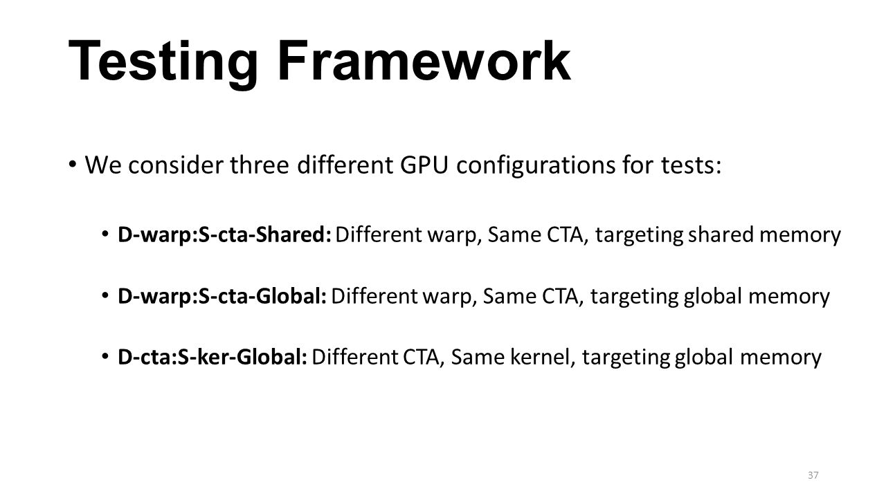 Testing Framework We consider three different GPU configurations for tests: D-warp:S-cta-Shared: Different warp, Same CTA, targeting shared memory D-warp:S-cta-Global: Different warp, Same CTA, targeting global memory D-cta:S-ker-Global: Different CTA, Same kernel, targeting global memory 37