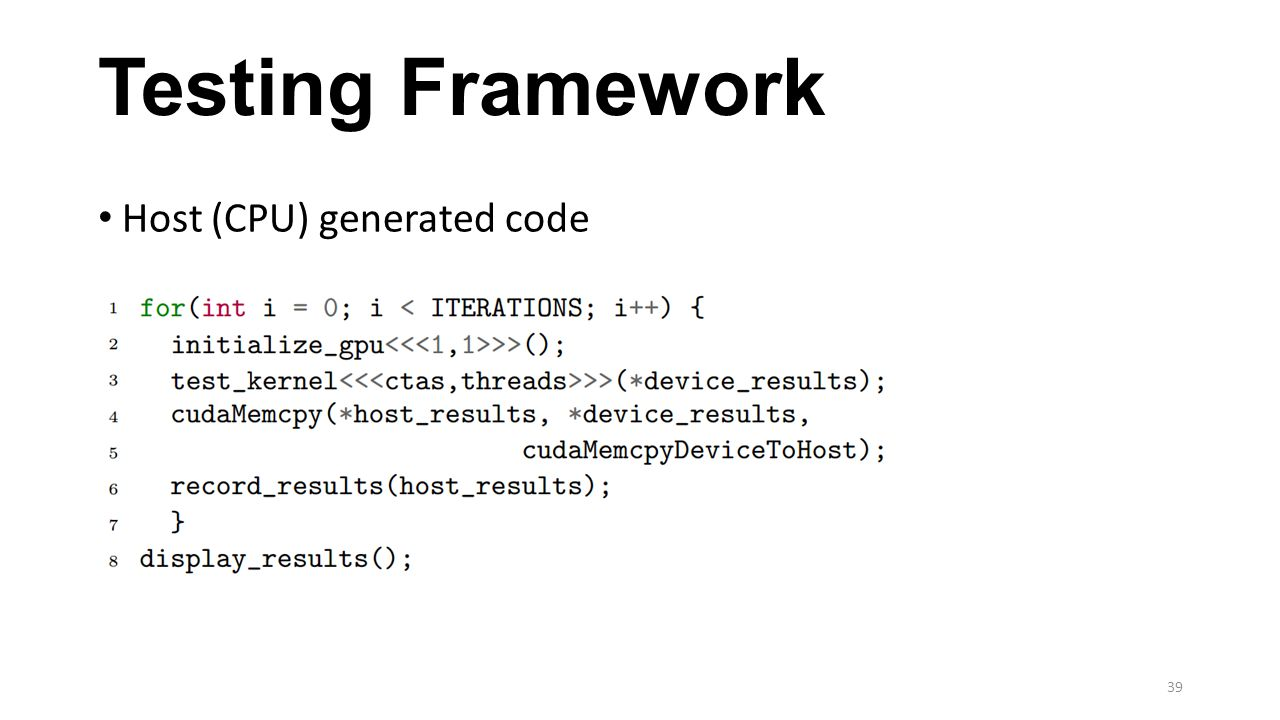Testing Framework Host (CPU) generated code 39