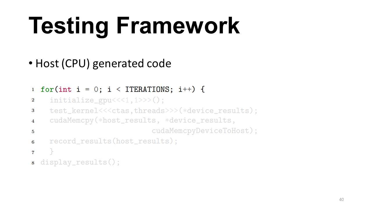 Testing Framework Host (CPU) generated code 40
