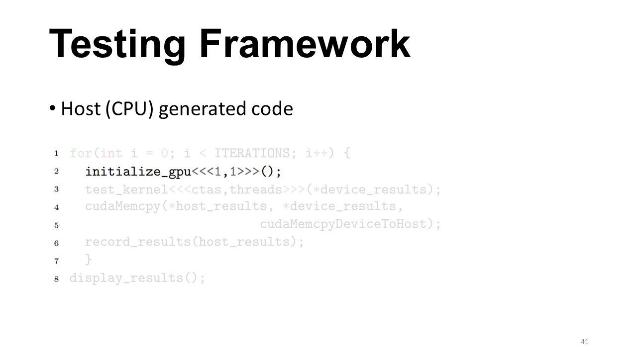 Testing Framework Host (CPU) generated code 41