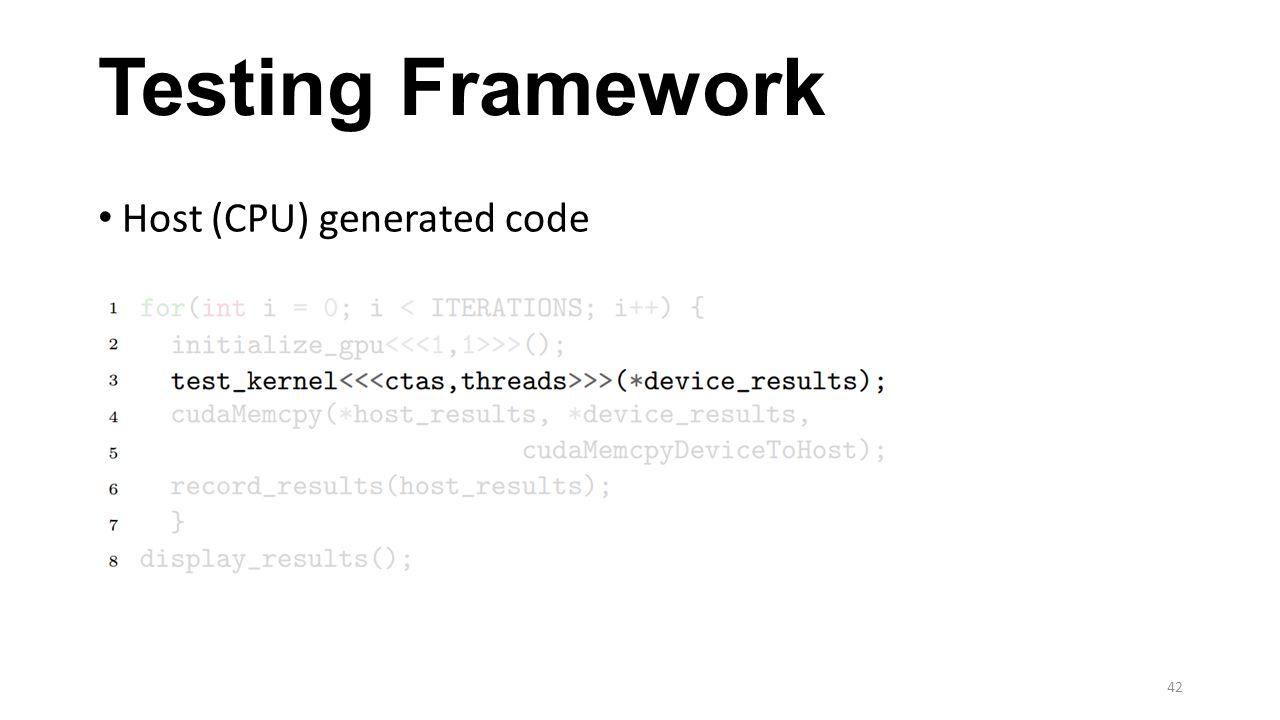 Testing Framework Host (CPU) generated code 42