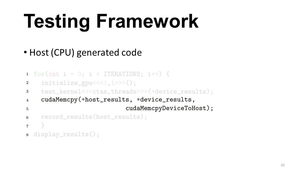 Testing Framework Host (CPU) generated code 43