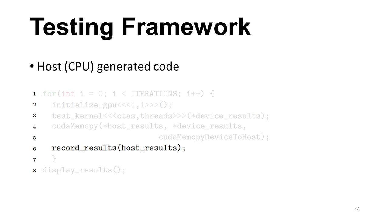 Testing Framework Host (CPU) generated code 44