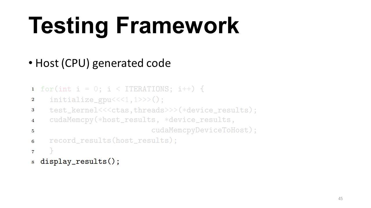 Testing Framework Host (CPU) generated code 45