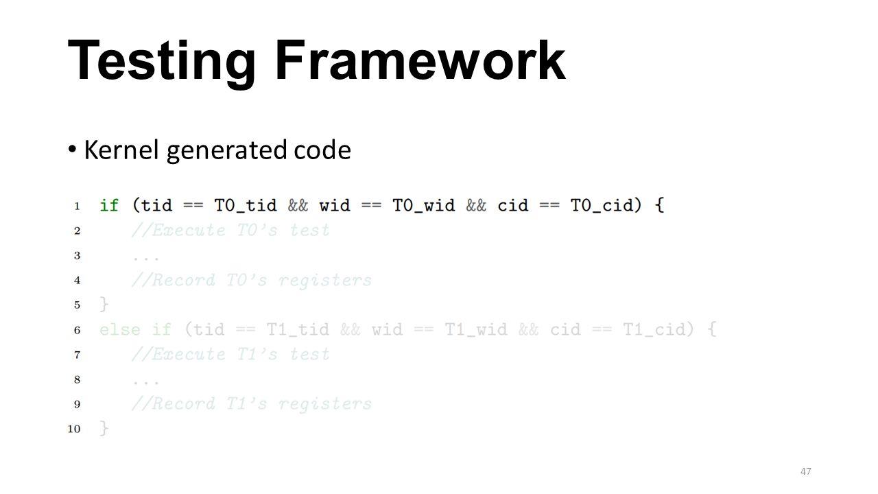 Testing Framework Kernel generated code 47