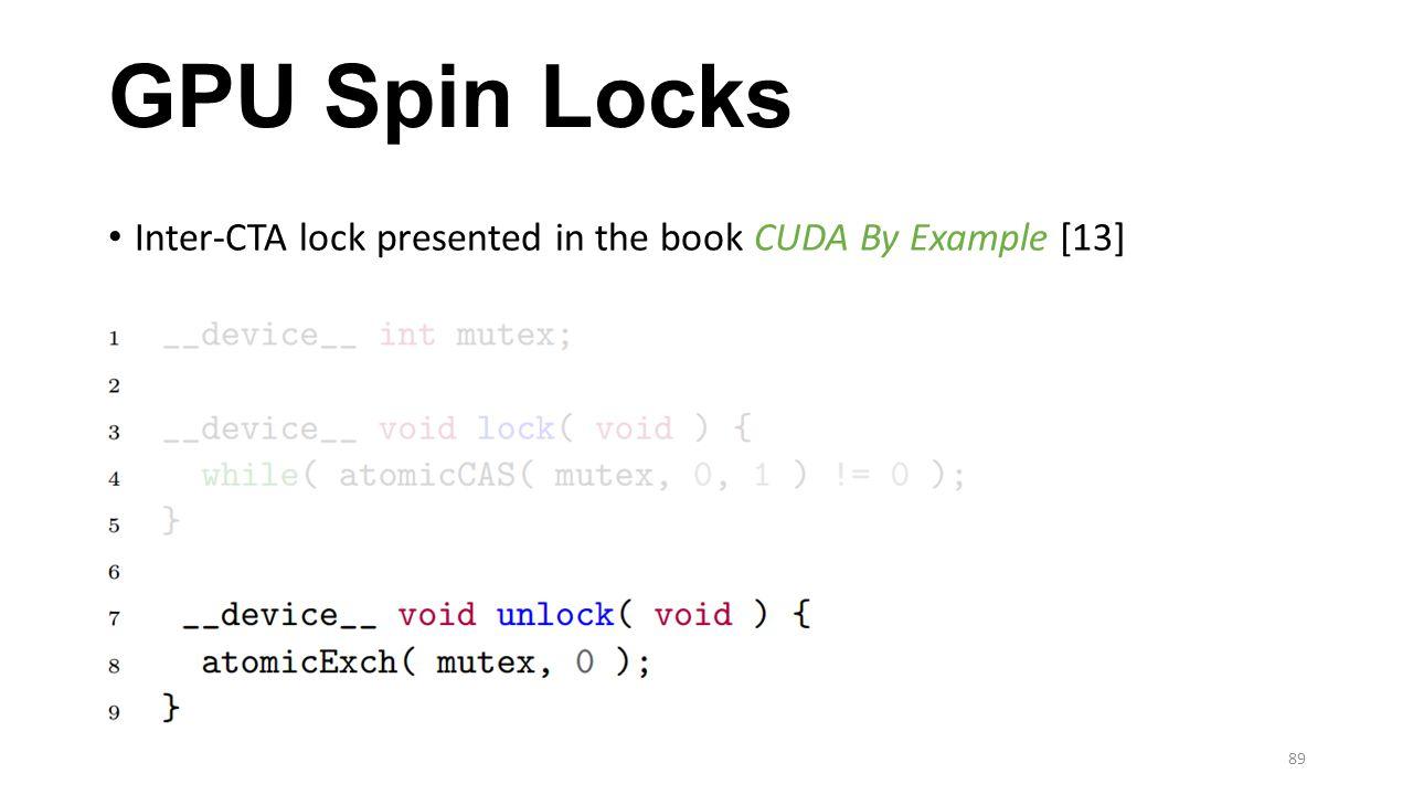 GPU Spin Locks Inter-CTA lock presented in the book CUDA By Example [13] 89