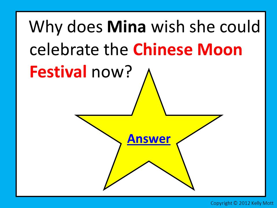 Why does Mina wish she could celebrate the Chinese Moon Festival now.
