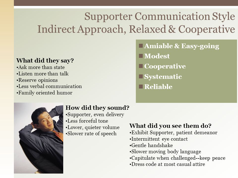 Amiable & Easy-going Modest Cooperative Systematic Reliable Supporter Communication Style Indirect Approach, Relaxed & Cooperative How did they sound.