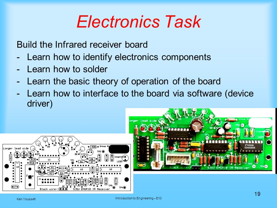 Electronics Task Build the Infrared receiver board -Learn how to identify electronics components -Learn how to solder -Learn the basic theory of operation of the board -Learn how to interface to the board via software (device driver) 19 Ken Youssefi Introduction to Engineering – E10