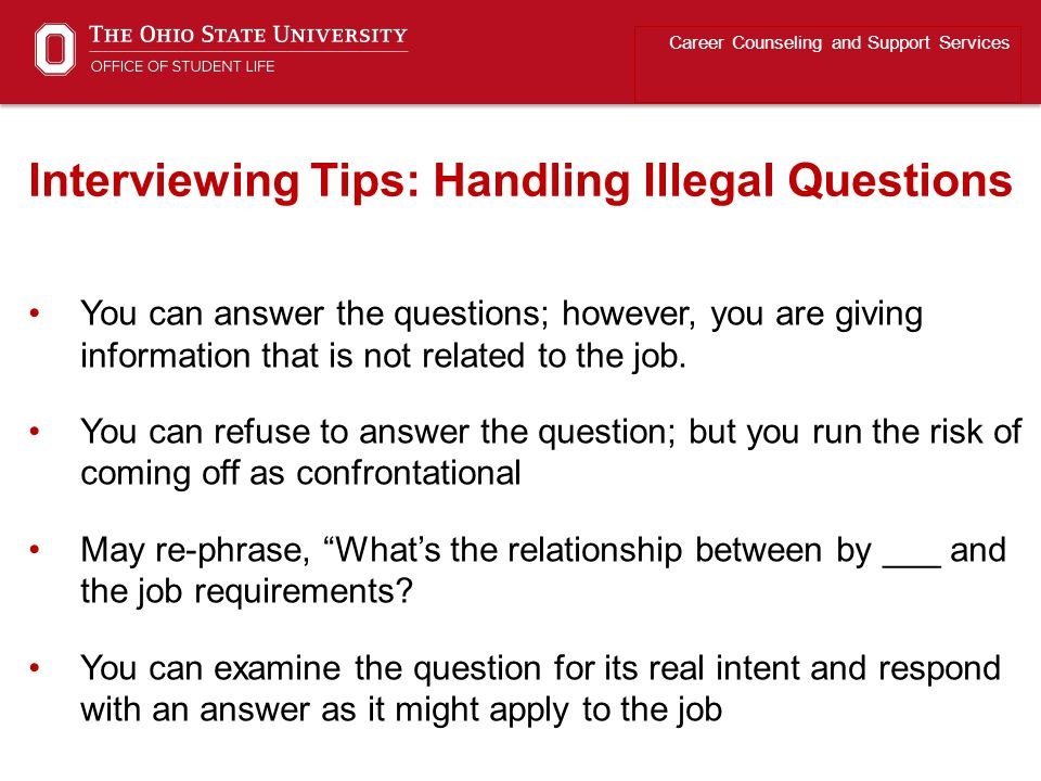 Marvelous ... Interviewing Tips: Handling Illegal Questions. You Can Answer  The Questions