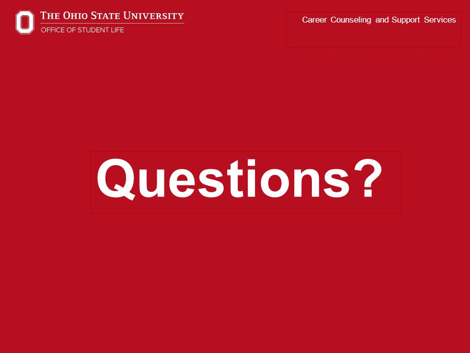 Career Counseling and Support Services Questions?