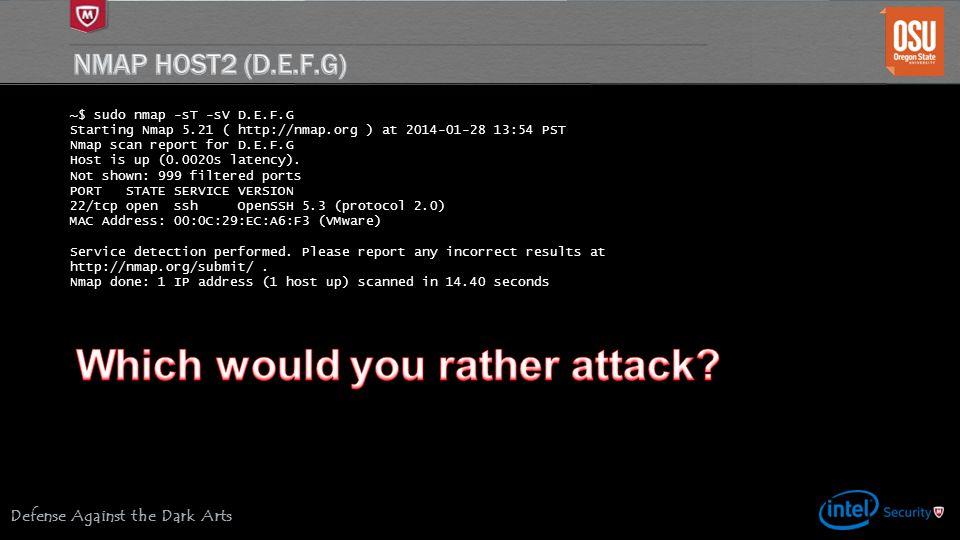Defense Against the Dark Arts ~$ sudo nmap -sT -sV D.E.F.G Starting Nmap 5.21 ( http://nmap.org ) at 2014-01-28 13:54 PST Nmap scan report for D.E.F.G Host is up (0.0020s latency).