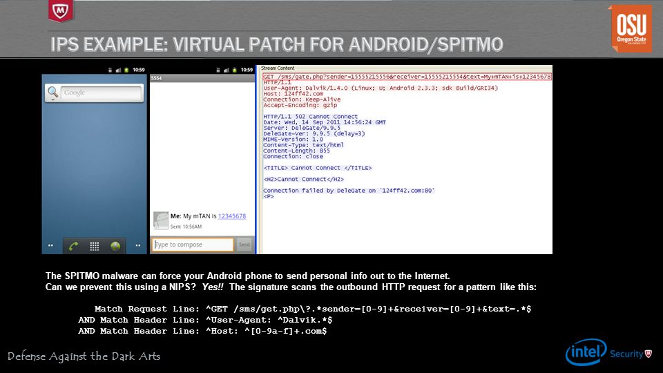 Defense Against the Dark Arts The SPITMO malware can force your Android phone to send personal info out to the Internet. Can we prevent this using a N