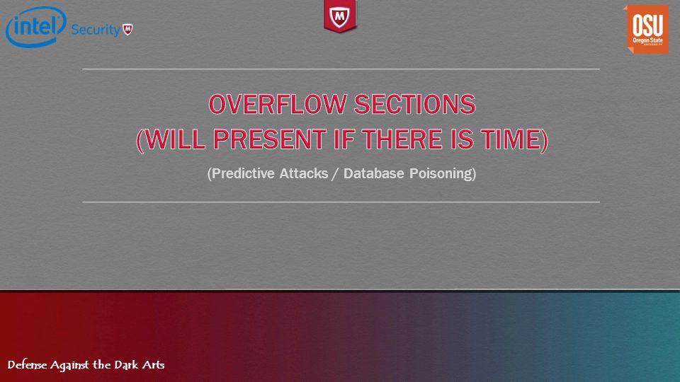Defense Against the Dark Arts (Predictive Attacks / Database Poisoning)