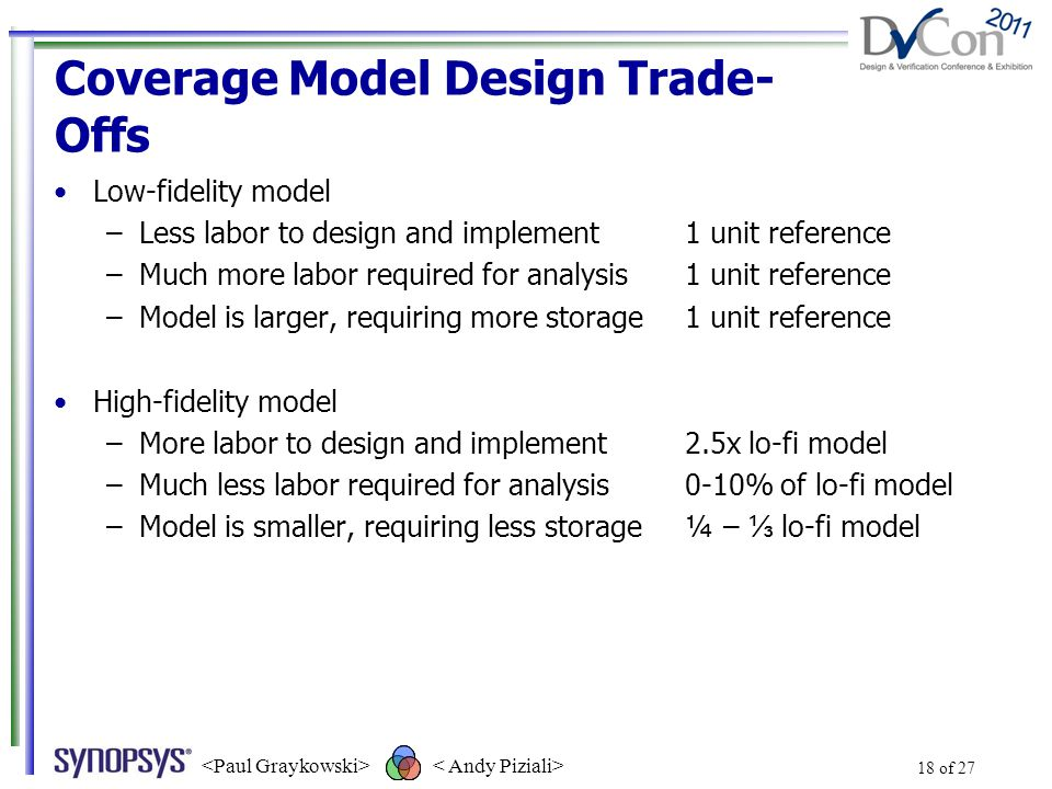 Coverage Model Design Trade- Offs Low-fidelity model –Less labor to design and implement1 unit reference –Much more labor required for analysis1 unit reference –Model is larger, requiring more storage1 unit reference High-fidelity model –More labor to design and implement2.5x lo-fi model –Much less labor required for analysis0-10% of lo-fi model –Model is smaller, requiring less storage¼ – ⅓ lo-fi model 18 of 27