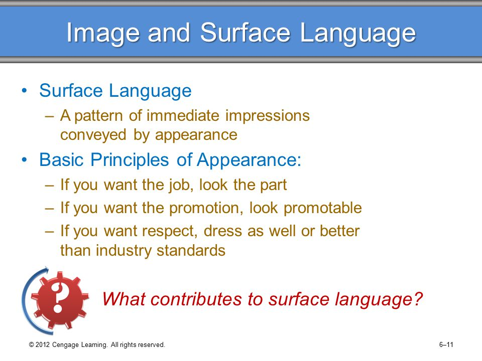 Image and Surface Language Surface Language –A pattern of immediate impressions conveyed by appearance Basic Principles of Appearance: –If you want the job, look the part –If you want the promotion, look promotable –If you want respect, dress as well or better than industry standards What contributes to surface language.