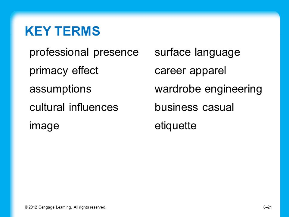 KEY TERMS © 2012 Cengage Learning.