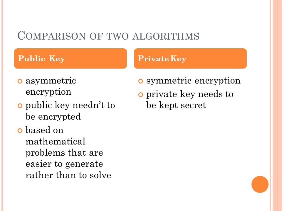 C OMPARISON OF TWO ALGORITHMS asymmetric encryption public key needn't to be encrypted based on mathematical problems that are easier to generate rather than to solve symmetric encryption private key needs to be kept secret Public KeyPrivate Key