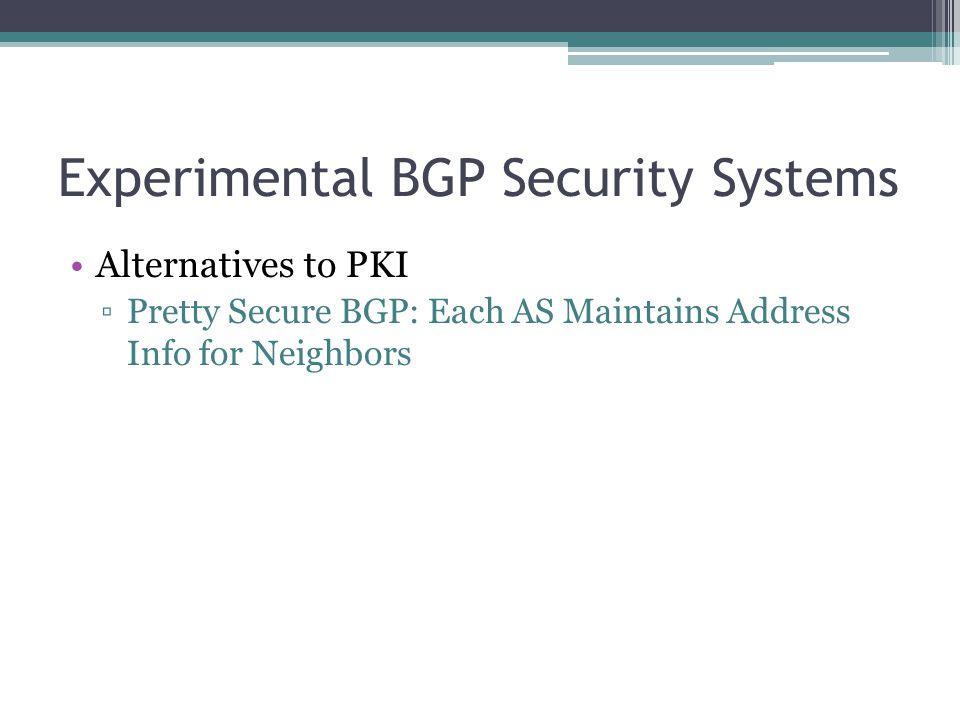 Experimental BGP Security Systems Alternatives to PKI ▫Pretty Secure BGP: Each AS Maintains Address Info for Neighbors